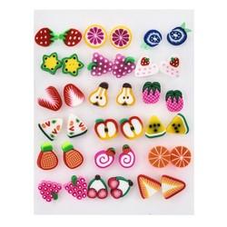 Fako Bijoux® - Oorbellen - Fruit - Acryl - Set - 18 Paar