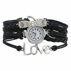 Fako® - Armband Horloge - Multi Infinity Uiltjes Love - Zwart
