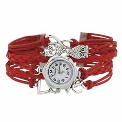 Fako® - Armband Horloge - Multi Infinity Uiltjes Love - Rood