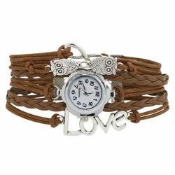 Fako® - Armband Horloge - Multi Infinity Uiltjes Love - Bruin
