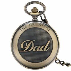 Fako® - Zakhorloge - XXL - The Greatest Dad - Ø 47mm - Brons