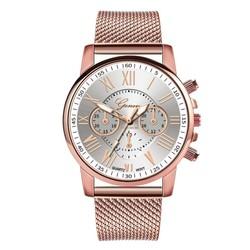 Fako® - Horloge - Geneva - Roman - Mesh Look Rosé - Ø 40mm - Wit