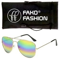 Fako Fashion® - Kinder Pilotenbril - Aviator Zonnebril - Goud - Regenboog