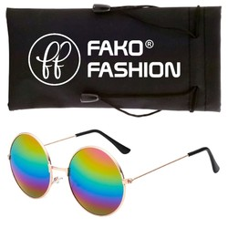 Fako Fashion® - John Lennon Kinder Zonnebril - Ronde Glazen - Goud - Regenboog
