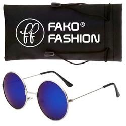 Fako Fashion® - John Lennon Kinder Zonnebril - Ronde Glazen - Zilver - Blauw
