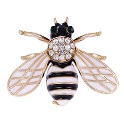 Fako Bijoux® - Broche - Bij - Bee - Kristal - 27x34mm - Wit