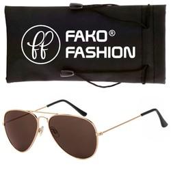 Fako Fashion® - Kinder Pilotenbril - Aviator Zonnebril - Goud - Bruin