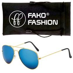 Fako Fashion® - Pilotenbril - Aviator Zonnebril - Goud - Blauw