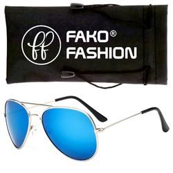Fako Fashion® - Pilotenbril - Aviator Zonnebril - Zilver - Blauw