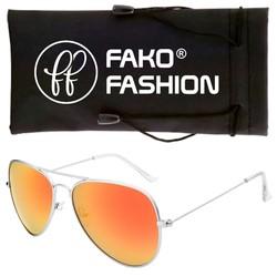 Fako Fashion® - Pilotenbril - Aviator Zonnebril - Zilver - Rood