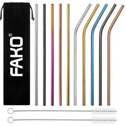 Fako Bijoux® - 10 Herbruikbare RVS Gekleurde Rietjes - 5 Gebogen Rietjes & 5 Rechte Rietjes - 2 Schoonmaakborstels - Velours Zakje - Duurzaam en Stijlvol - Milieuvriendelijk