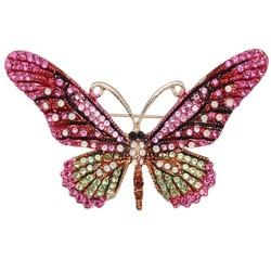 Fako Bijoux® - Broche - Vlinder - 76x44mm - Roze/Groen