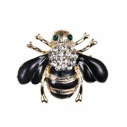 Fako Bijoux® - Broche - Bij - Bee - Kristal - 31x24mm - Zwart
