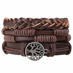 Fako Bijoux® - Armband - Leder - Set Vintage - Levensboom