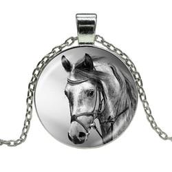 Fako Bijoux® - Ketting - Cabochon - Paardenhoofd - Zwart/Wit