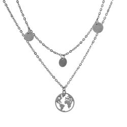 Fako Bijoux® - Ketting - Wereldkaart & Muntjes - Zilverkleurig