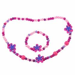 Fako Bijoux® - Kinderketting en Armband - Bloemetjes Roze