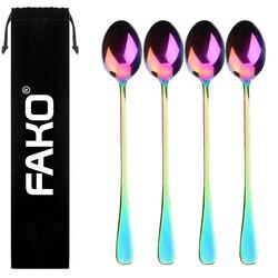 Fako Bijoux® - 4 Lange Lepels - Latte Macchiato - Longdrink - Cocktail - Dessert - IJs - Koffie - Regenboog - 4 Stuks - Bewaarzakje
