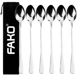 Fako Bijoux® - 6 Lange Lepels - Latte Macchiato - Longdrink - Cocktail - Dessert - IJs - Koffie - Zilver - 6 Stuks - Bewaarzakje