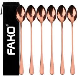 Fako Bijoux® - 6 Lange Lepels - Latte Macchiato - Longdrink - Cocktail - Dessert - IJs - Koffie - Rosé Goud - 6 Stuks - Bewaarzakje