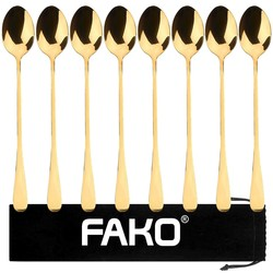 Fako Bijoux® - 8 Lange Lepels - Latte Macchiato - Longdrink - Cocktail - Dessert - IJs - Koffie - Goud - 8 Stuks - Bewaarzakje