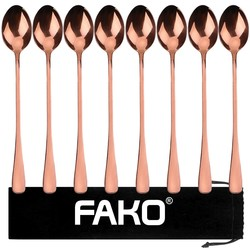 Fako Bijoux® - 8 Lange Lepels - Latte Macchiato - Longdrink - Cocktail - Dessert - IJs - Koffie - Rosé Goud - 8 Stuks - Bewaarzakje