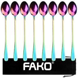 Fako Bijoux® - 8 Lange Lepels - Latte Macchiato - Longdrink - Cocktail - Dessert - IJs - Koffie - Regenboog - 8 Stuks - Bewaarzakje