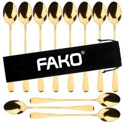 Fako Bijoux® - 12 Lange Lepels - Latte Macchiato - Longdrink - Cocktail - Dessert - IJs - Koffie - Goud - 12 Stuks - Bewaarzakje