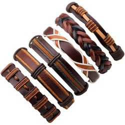 Fako Bijoux® - Armband - Leder - Set Deluxe - 6 Stuks - Bruin Combi