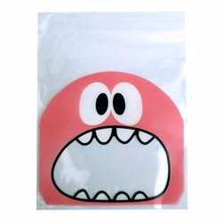 Fako Bijoux® - 100x Uitdeelzakjes - Cellofaan Plastic Traktatie Kado Zakjes - Snoepzakjes - Monster - 10x10cm - Roze
