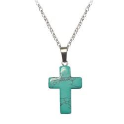 Fako Bijoux® - Ketting - Kruis - Turquoise - Natuursteen - 50cm