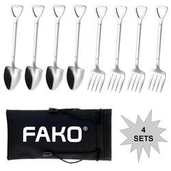 Fako Bijoux® - Gebak Bestek - Dessert Bestek - Schep & Hark - Zilver - 4 Sets
