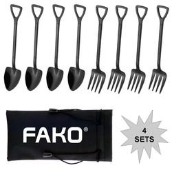 Fako Bijoux® - Gebak Bestek - Dessert Bestek - Schep & Hark - Zwart - 4 Sets