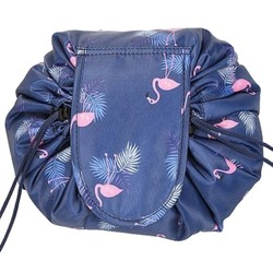 Fako Fashion® - Magic Travel Pouch - Cosmetic Opberg Tas - Make-up Opbergsysteem - Make-up Toilettas - Reistas - Cosmetica Accessoires Organiser - Handige Toilettas - Flamingo Donkerblauw