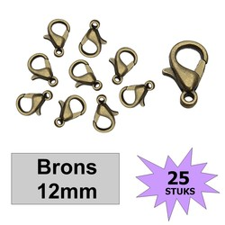 Fako Bijoux® - Karabijn Sluitingen - Brons - 12mm - 25 Stuks