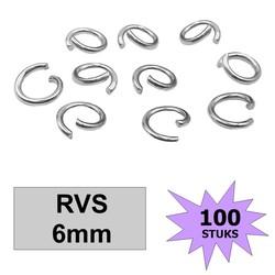 Fako Bijoux® - Jump Ring - Oogjes - Ringetjes - Sieraden Maken - RVS - 6mm - 100 Stuks