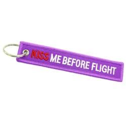Fako Bijoux® - Sleutelhanger - Kiss Me Before Flight - Paars