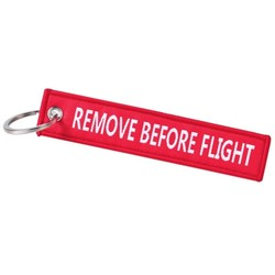 Fako Bijoux® - Sleutelhanger - Remove Before Flight - Print - Rood