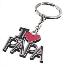 Fako Bijoux® - Sleutelhanger - I Love Papa - Zilverkleurig