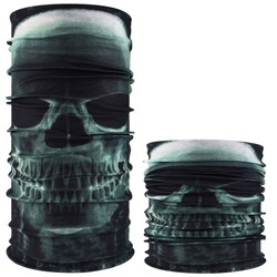 Fako Fashion® - Microfiber Faceshield - Bandana - Nekwarmer -  Sjaal - Skull Groen