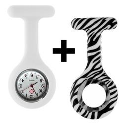 Fako® - Verpleegstershorloge - Siliconen Duo - Zebra Wit