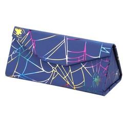 Fako Bijoux® - Brillenkoker - Opvouwbaar - 16x7x6.5cm - Spider - Blauw