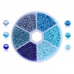 Fako Bijoux® - DIY Kralen Set - Glas Zaad Kralen - Sieraden Maken - 2mm - 7000 Stuks - Blauw