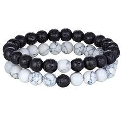 Fako Bijoux® - Dubbele Kralen Armband - Natuursteen Armband -  Wit Marmer & Lavasteen