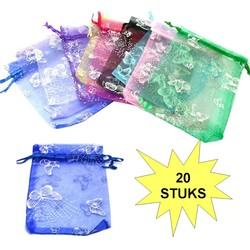 Fako Bijoux® - Organza Zakjes - 7x9cm - Vlinders Print - Mix - 100 Stuks
