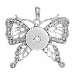 Fako Bijoux® - Kettinghanger Voor Click Buttons - Vlinder Strass - Wit