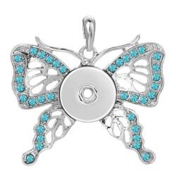 Fako Bijoux® - Kettinghanger Voor Click Buttons - Vlinder Strass - Turquoise