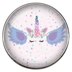 Fako Bijoux® - Click Button - Glas - Eenhoorn - Unicorn - Sparkle