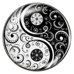 Fako Bijoux® - Click Button - Glas - Yin Yang - Deluxe
