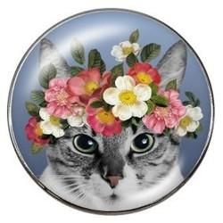 Fako Bijoux® - Click Button - Glas - Poes - Bloemen